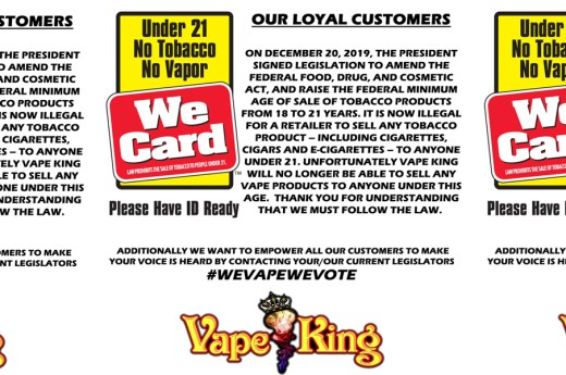 Federal law signed into effect, increasing minimum age to purchase tobacco products from 18 to 21.