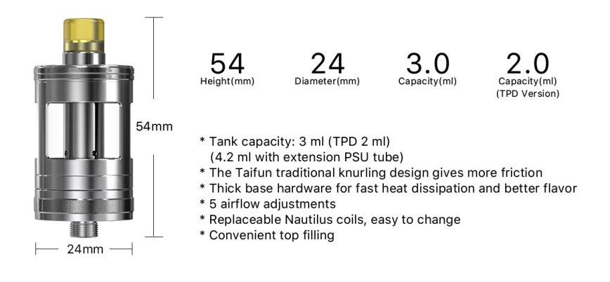 nautilus gt tank by aspire taifun 3