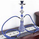 DXP Shisha 2 Sortie Tuyau Ou Tube 55 Cm Chicha Hookah Narguile Vase Fumeurs Bleu