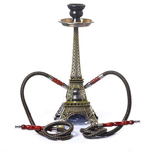 YONGCHY 2 Tubes pour 2 Personnes, Creative Shisha Narguilé Set, Form Tour Eiffel Chicha Kit Céramique Bowl Charbon Collier De Serrage Connecteur Accessoire