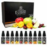 Paquet de 10 jus de liquide E Vape Liquid (10pc x10ml) 70VG / 30PG Huile de vaporisateur de cigarettes E sans nicotine ni tabac