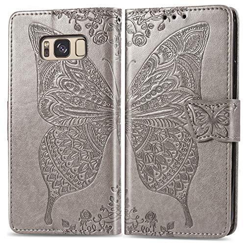 LODROC Coque Galaxy S8 Coque,Housse en Cuir Premium Flip Case Portefeuille Etui avec Stand Support et Carte Slot pour Samsung Galaxy S8/G950F – LOSD0100525 Gris