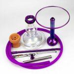 YTG Carbone en Fibre de Verre Shisha Narguilé Smoking Pipe à Eau Nagyle Chicha avec Cuvette en céramique Silicone Flexible (Color : Blue)
