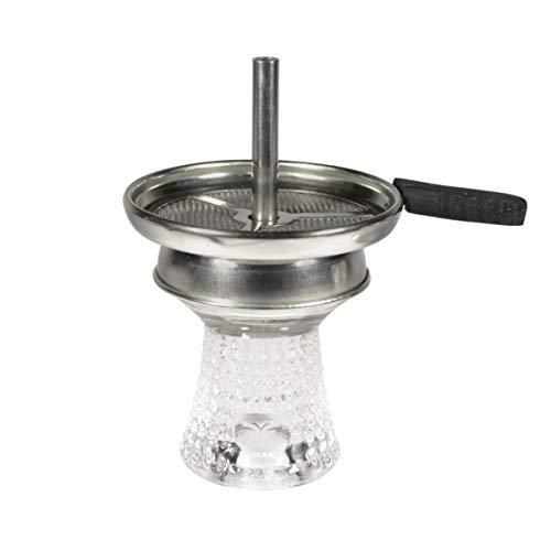 Kit Foyer chicha en verre avec cheminée   Tête de chicha verre + porte charbon cheminée + tamis pour tabac