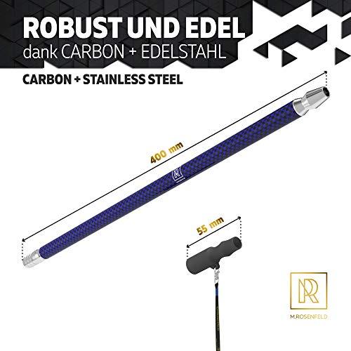 M. ROSENFELD Embout de chicha en carbone de qualité supérieure – 40 cm de long – Noir + or – Avec adaptateur de tuyau et embout hygiénique noir – Cordon inclus