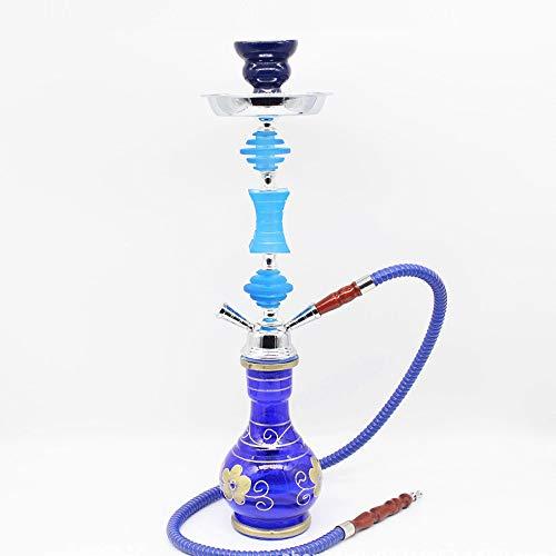 WJMT Brownah Ensemble de 55cm avec Tuyau de Silicone Tuyaux de Bol Tongs, Tuyaux d'eau en Verre Shanhaha Hookah (Color : Blue)