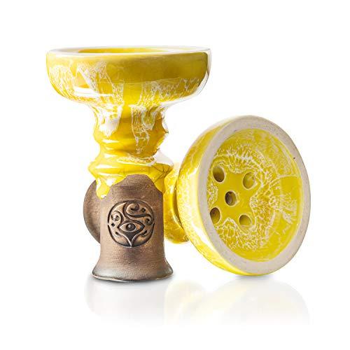 ORACLE HOOKAH® Tête de narguilé – En argile de qualité supérieure – Pour narguilé et narguilé (jaune)