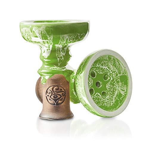 ORACLE HOOKAH® Tête de narguilé en argile vernie de qualité supérieure pour narguilé et narguilé Vert