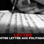REACTION : Notre lettre aux politiques français.