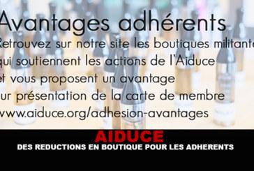 AIDUCE : Des réductions en boutiques pour les adhérents !