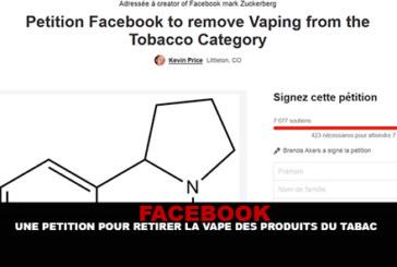 FACEBOOK : Une pétition pour retirer la vape des produits du tabac.