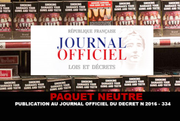 TABAC : Publication au journal officiel du décret n°2016-334