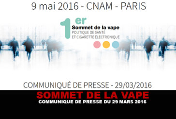 SOMMET DE LA VAPE : Communiqué de presse du 29 Mars.