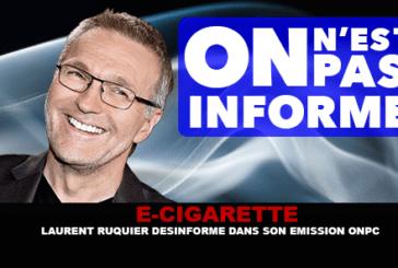 """E-ZIGARETTE: Laurent Ruquier informiert in seiner Show """"Wir lügen nicht"""" falsch."""