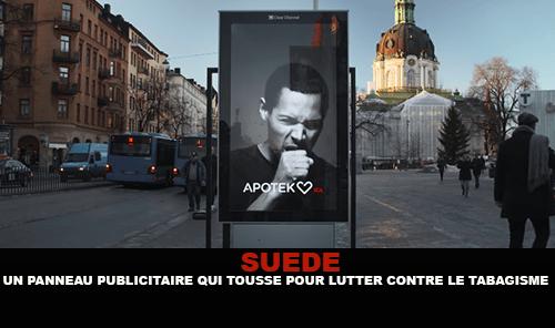 SUÈDE : Un panneau publicitaire qui tousse pour lutter contre le tabagisme.
