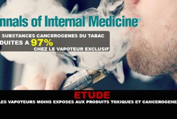 ÉTUDE : Les vapoteurs bien moins exposés aux produits toxiques et cancérogènes que les fumeurs.