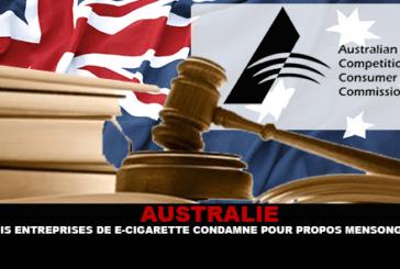 AUSTRALIA: Tre compagnie di sigarette elettroniche condannate per aver mentito.