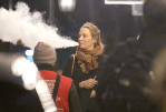 PEOPLE: Actress Uma Thurman makes big clouds with her e-cigarette in London.
