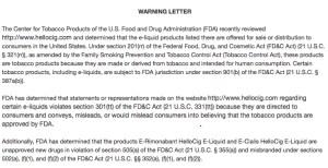 warning letter from the FDA regarding viagra e-liquids