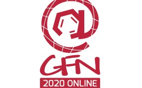 Logo for global forumn on nicotine 2020 online in red and white