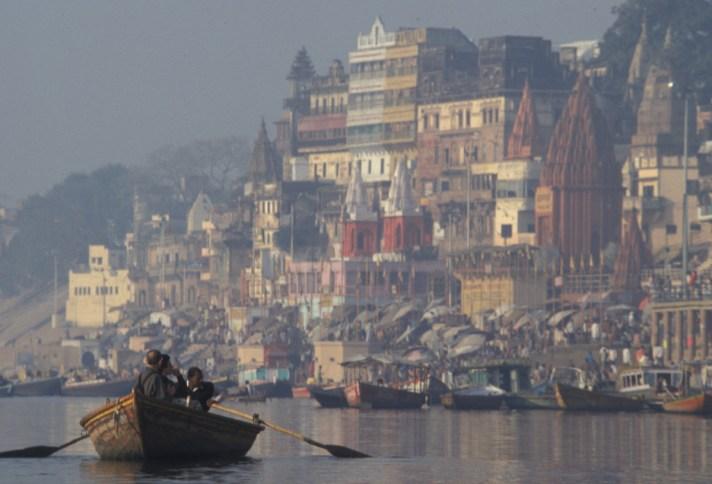 India - Varanasi - People in boat on Ganges