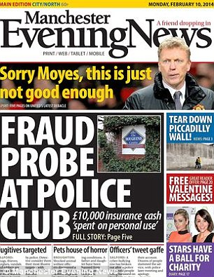 Loud and clear: The Manchester Evening News front page on Monday delivered a message to Moyes