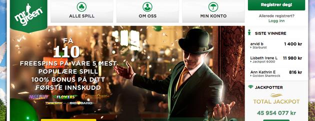 Mr. Green- Opp i mot 150% større jackpot enn ellers!