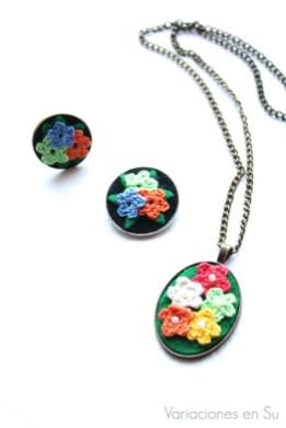 collar-broche-anillo-flores-ganchillo
