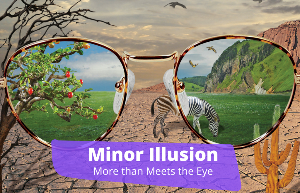 Text reads: Minor Illusion More than Meets the Eye