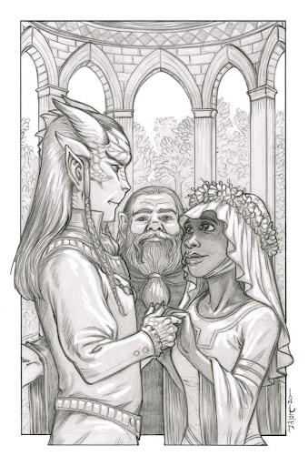 Black and white sketch of a tiefling man and elf woman getting married by a drawf man