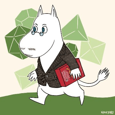 White dog walking on two legs wears a jacked, glasses and is holding a book. Outline of polyhedral dice in the background.