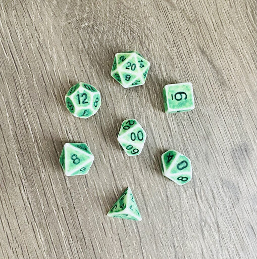 Set of green dice