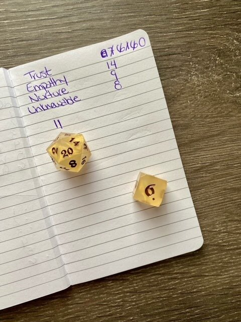 Stats rolled for my play through. Honey & Dice from Die Hard Dice featured.