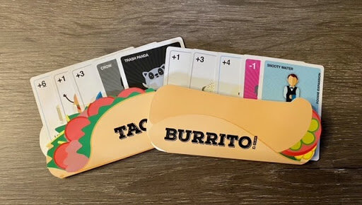 Two sets of cards in taco and burrito card holders