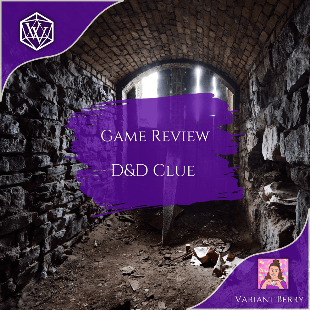 """Pictured: The decaying stone remains of what was once a masoned passageway in an old temple, not a long forgotten ruin. Overlayed with a two purple corner designs, one in the upper left with the white VV twenty sided die logo, and one in the lower right corner with Variant Berry's profile icon: A hand drawn portrait of her smiling face, making a heart shape in her hands with the VV logo in the middle. In the middle of the image is a purple paint swipe with the words """"Game Review D&D Clue"""" imposed over it."""