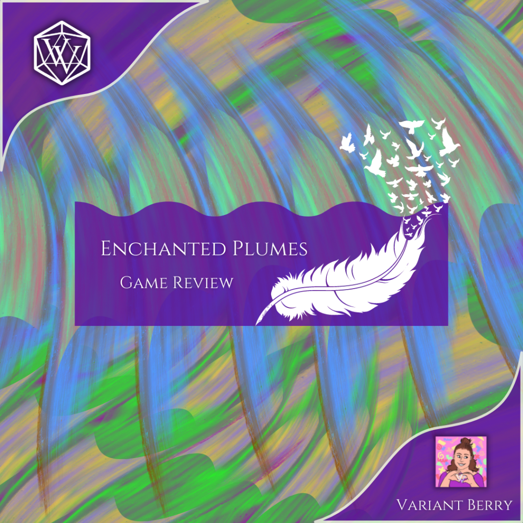 Text reads: Enchanted Plumes Game Review over brightly colored feathers