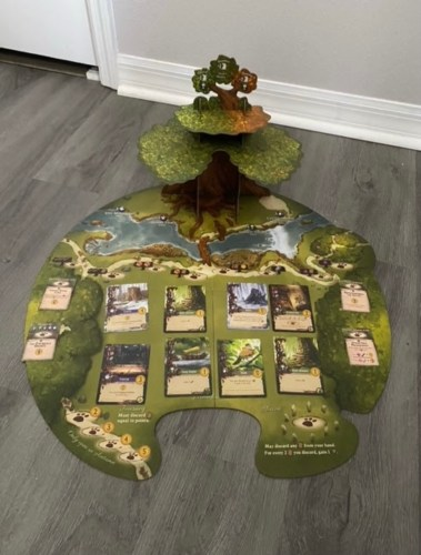 Everdell Board set up with Everdell Tree standing at the back of the board