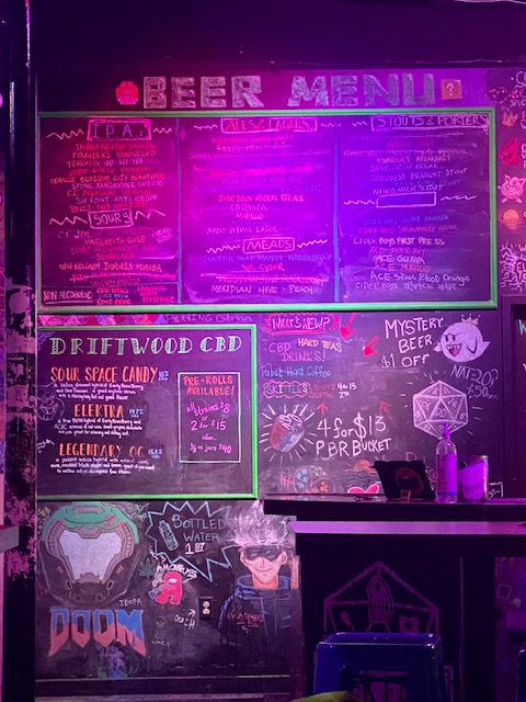 Pictured: Chalkboard wall full of drink options.