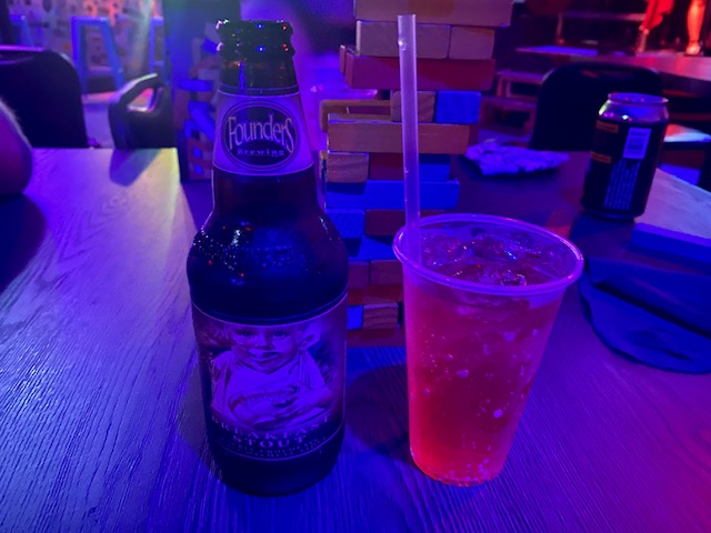 Pictured: Flounder's Breakfast Stout and Hyrule Hero drinks