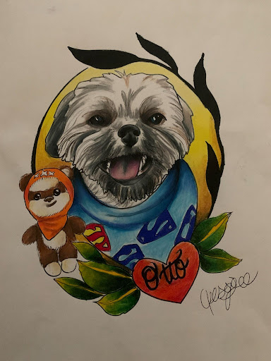"""Picture of dog with an Ewok toy. Name underneath reads """"Otto"""""""