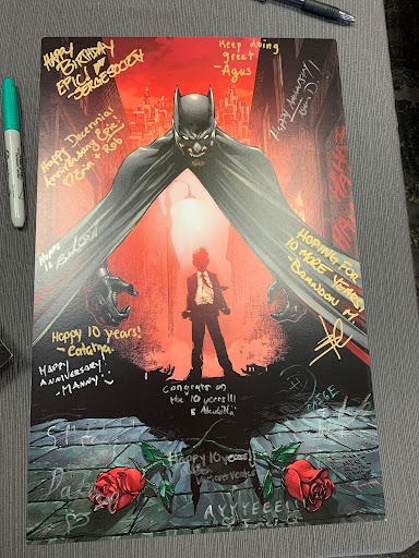 batman print with signatures on it