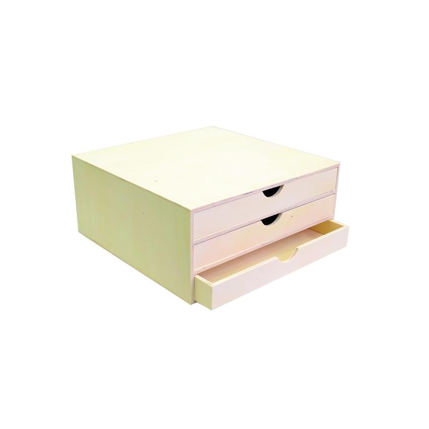 bloc bois 3 tiroirs