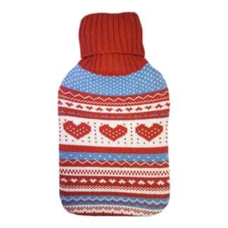 Varmera värmeflaska Hearts and Snowflakes - 1,75l varmvattenflaska