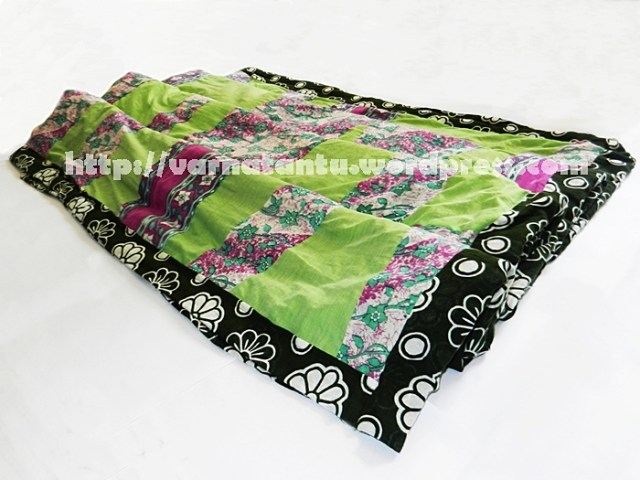 Quilted Blanket Cover made by Recycling Saris