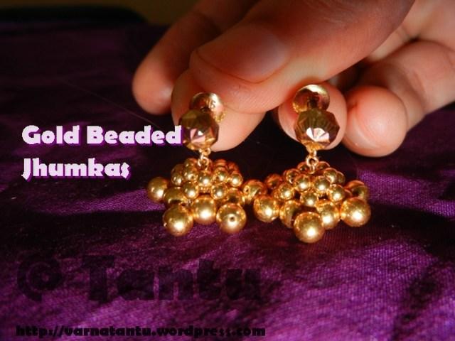 Gold Beaded Jhumkas