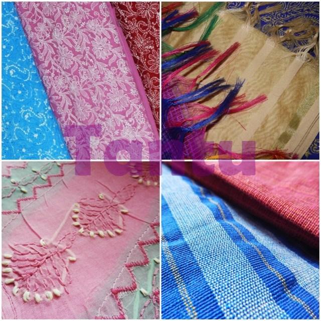 Indian Traditional Textiles - Chikankari, Brocade. Chikankari and Handloom respectively