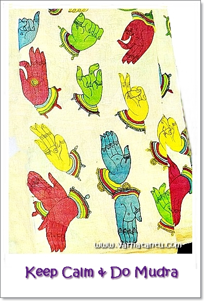 This 'Keep Calm and Do Mudra' card is made using mudra (hand expression) printing textile material s seen at Khadi Utsav 2017.