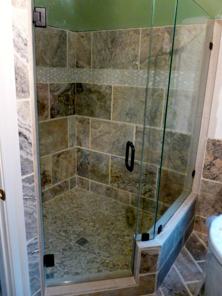 "Frameless  Neo Angle Glass Shower Enclosure 3/8"" Clear Glass with  Mitered Edges Oil Rubbed Bronze Finish Ashland Va RVA Virginia Shower Door"