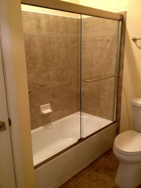 "Semi-Frameless Sliding Bathtub Glass Enclosure Brushed Nickel Finish 3/8"" Clear Glass Midlothian Virginia RVA Shower Door"