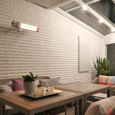 VASNER wall mounted infrared patio heater with bluetooth app control and ultra low glare technology